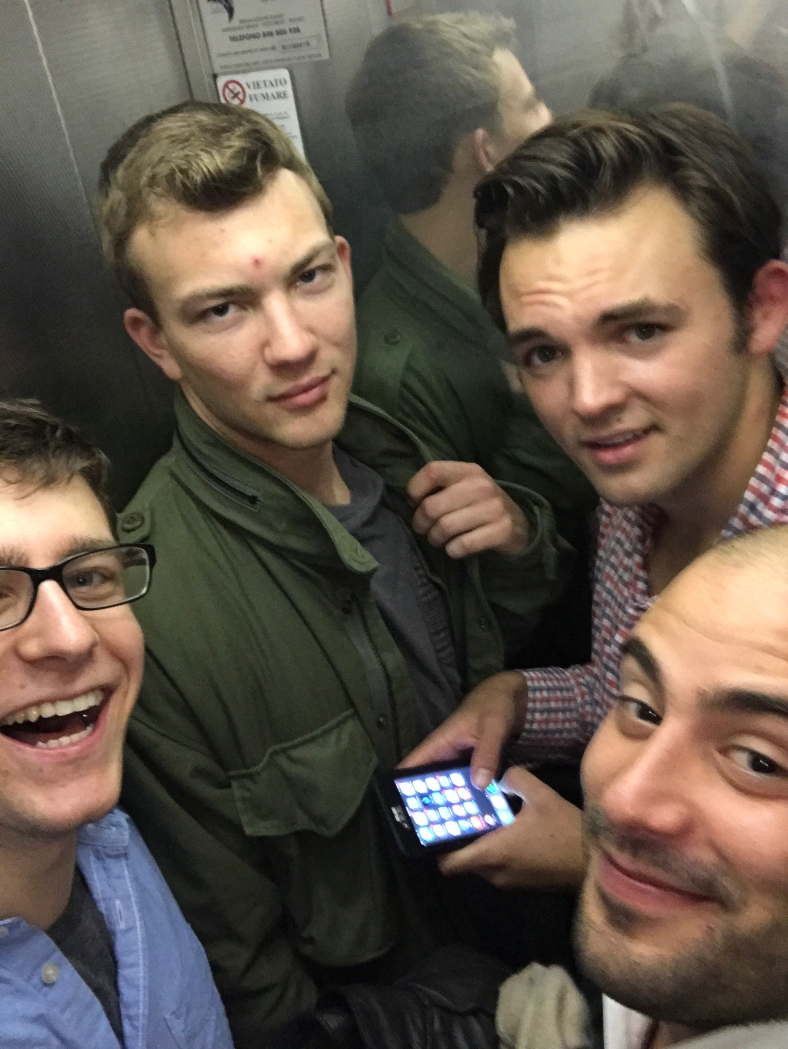 A happy group in the elevator