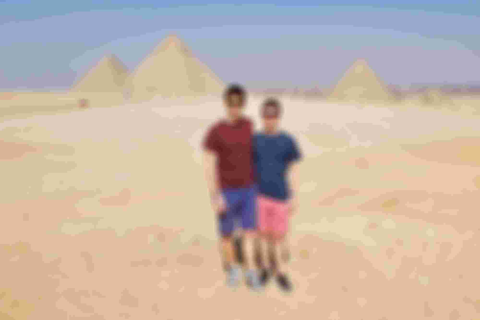 I'm pretty sure we're the only two people in all of Egypt that were wearing shorts.